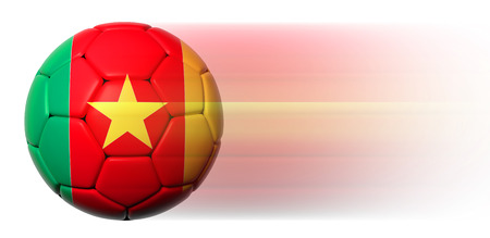 Soccer ball with Cameroon flag in motion isolated photo