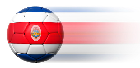 costa rican: Soccer ball with Costa Rican flag in motion isolated Stock Photo