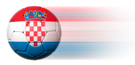 Soccer ball with Croatian flag in motion isolated  photo
