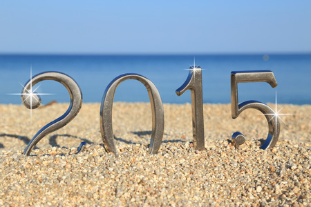 Year 2015 number on the beach photo
