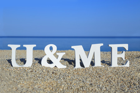 Seascape with white words you and me on the sand photo