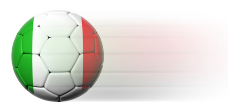 Soccer ball with Italian flag in motion isolated  photo