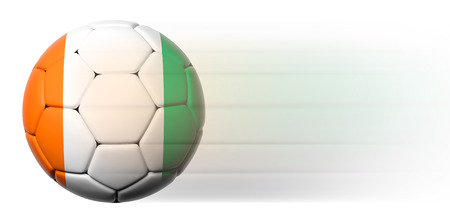 Soccer ball with Ivorian flag in motion isolated  photo