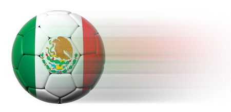 Soccer ball with Mexican flag in motion isolated photo