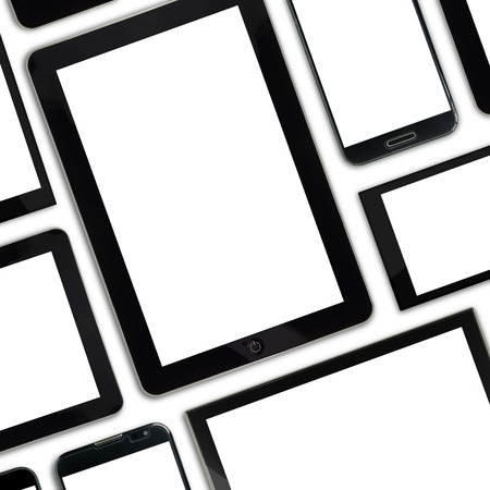 Set of blank templates digital devices isolated on white  photo