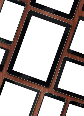 Set of blank templates digital devices on wooden tabletop  photo