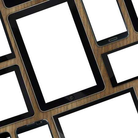 tabletop: Set of blank templates digital devices on wooden tabletop