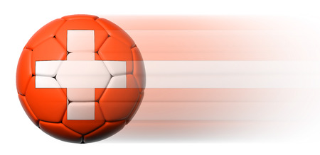Soccer ball with Swiss flag in motion isolated  photo