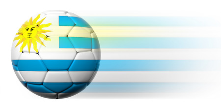 Soccer ball with Uruguayan flag in motion isolated  photo