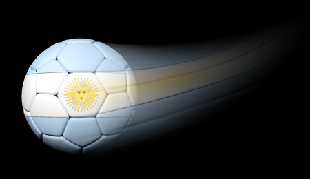 argentinian flag: Soccer ball with Argentinian flag in motion on black