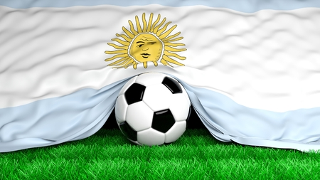 argentinian flag: Soccer ball with Argentinian flag on football field closeup