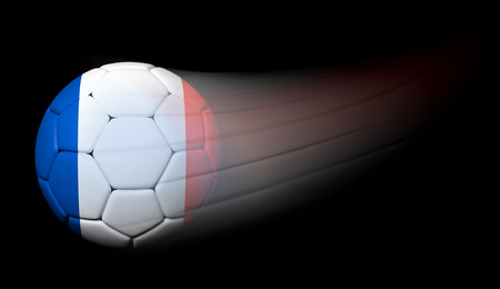 Soccer ball with French flag in motion on black photo