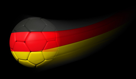Soccer ball with German flag in motion on black photo