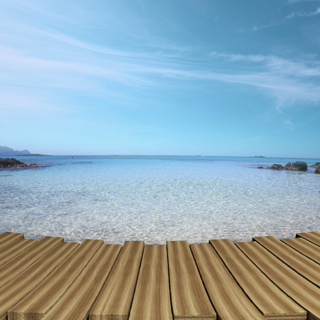 wooden deck: Wooden deck with turquoise color waters and sky