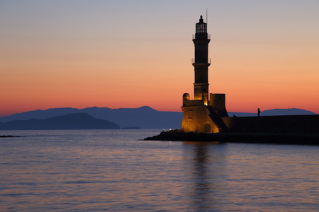 Scenic view of lighthouse in Chania Crete Greece photo
