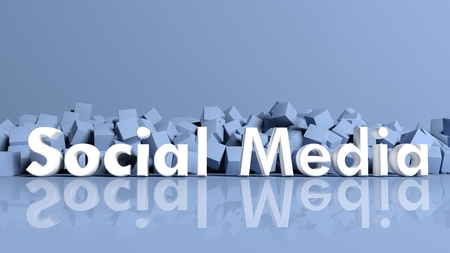 building blocks business: Abstract background with blue cubes and social media text