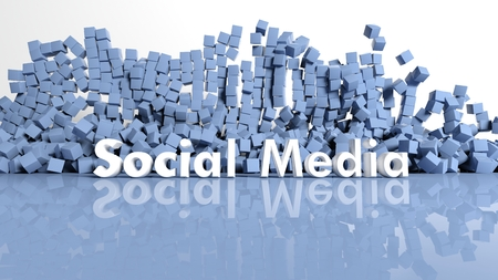 Abstract background with blue cubes and social media text photo