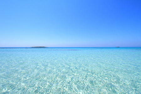 crystal clear: Seascape with crystal shallow waters Elafonisi Crete Stock Photo