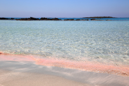 greece shoreline: Pink sand beach with crystal waters Elafonisi Crete