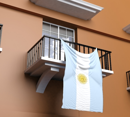 argentinian flag: Balcony with Argentinian flag