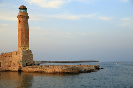 rethymno: Stone old lighthouse closeup Rethymno Crete  Stock Photo