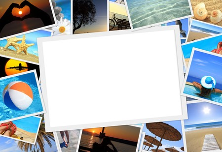 Collection of summer vacation photos with copy space photo
