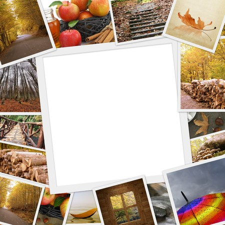 Collection of autumn photos with copy space photo
