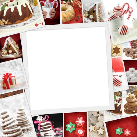 Collection of Christmas photos of confections with copy space photo