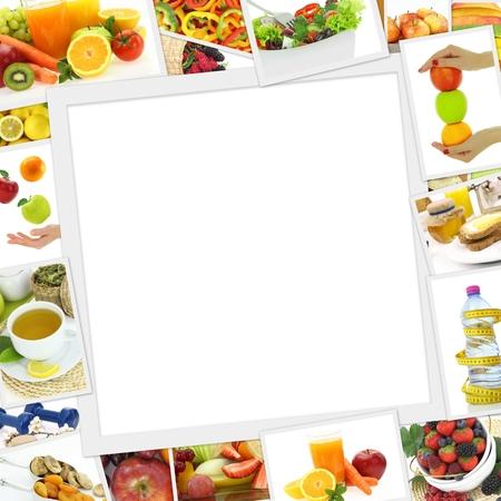 Verzameling van gezonde voeding foto's met een kopie ruimte Stockfoto