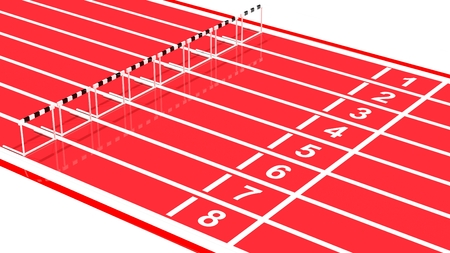 Row of black and white hurdles on running track photo