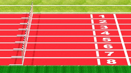 hurdle: Row of hurdles on running track top side view