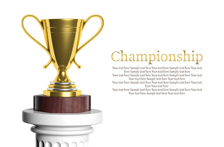 Golden trophy isolated on white with copy-space photo