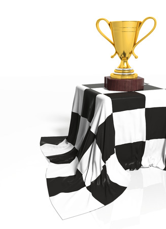 first place: Golden trophy on stand with racing flag isolated Stock Photo