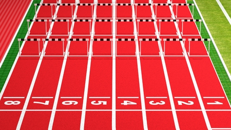 Rows of black and white hurdles on running track photo