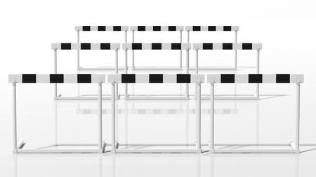 jumping fence: Filas de obstáculos en blanco y negro aislado en blanco