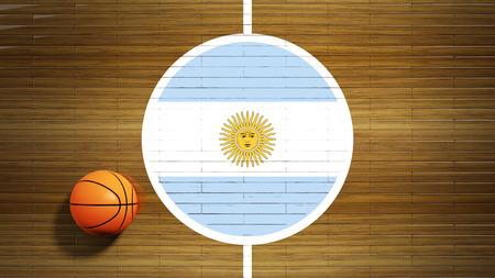 center court: Basketball court parquet floor center with flag of Argentina