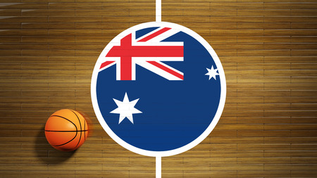 center court: Basketball court parquet floor center with flag of Australia