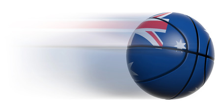 international basketball: Basketball ball with flag of Australia in motion isolated