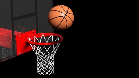 Basketball hoop with ball isolated on black background photo