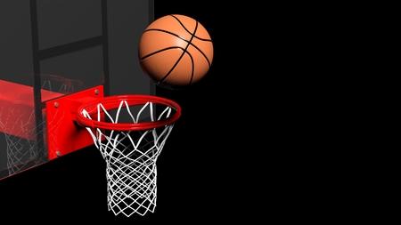 Basketbalring met bal geïsoleerd op zwarte achtergrond
