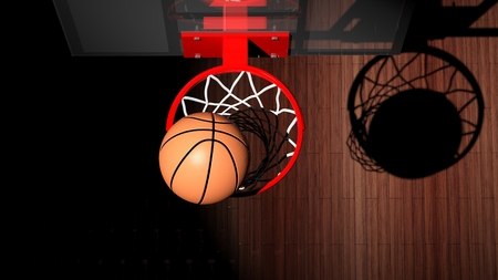 basket ball: Basketball hoop with ball inside top view