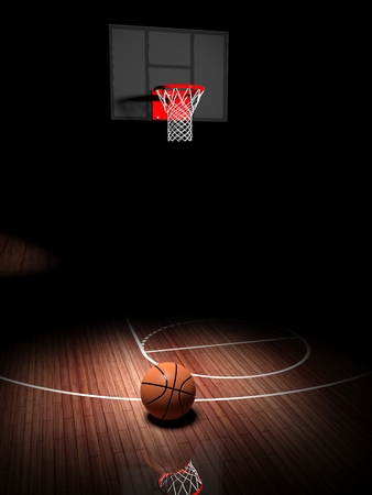 indoors: Basketball hoop with ball on wooden court floor