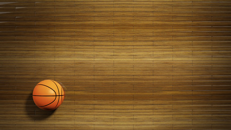 Basketball court parquet floor with classic ball photo