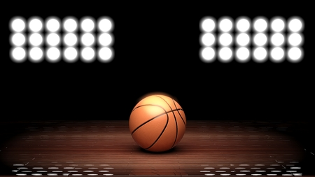 indoors: Basketball court floor with ball and back lighting on black  Stock Photo