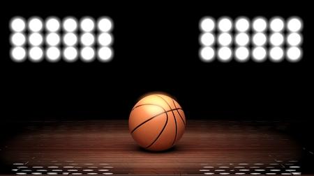 Basketbalveld vloer met bal en achterverlichting op zwart