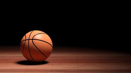 Suelo de la cancha de baloncesto con balón aislado en negro y copia-espacio