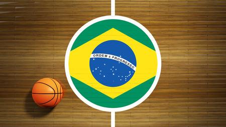 center court: Basketball court parquet floor center with flag of Brazil Stock Photo