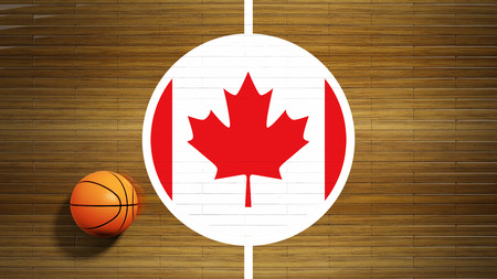 international basketball: Basketball court parquet floor center with flag of Canada Stock Photo