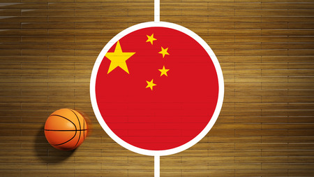 center court: Basketball court parquet floor center with flag of China