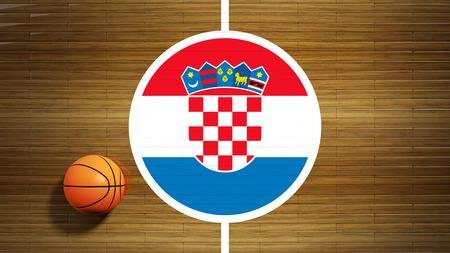 center court: Basketball court parquet floor center with flag of Croatia